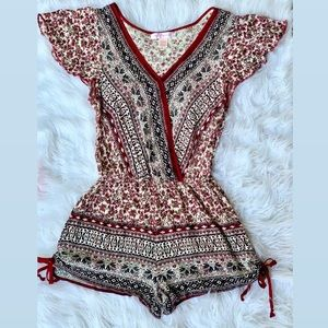 Band of Gypsies Boho Floral Ruched Leg Romper